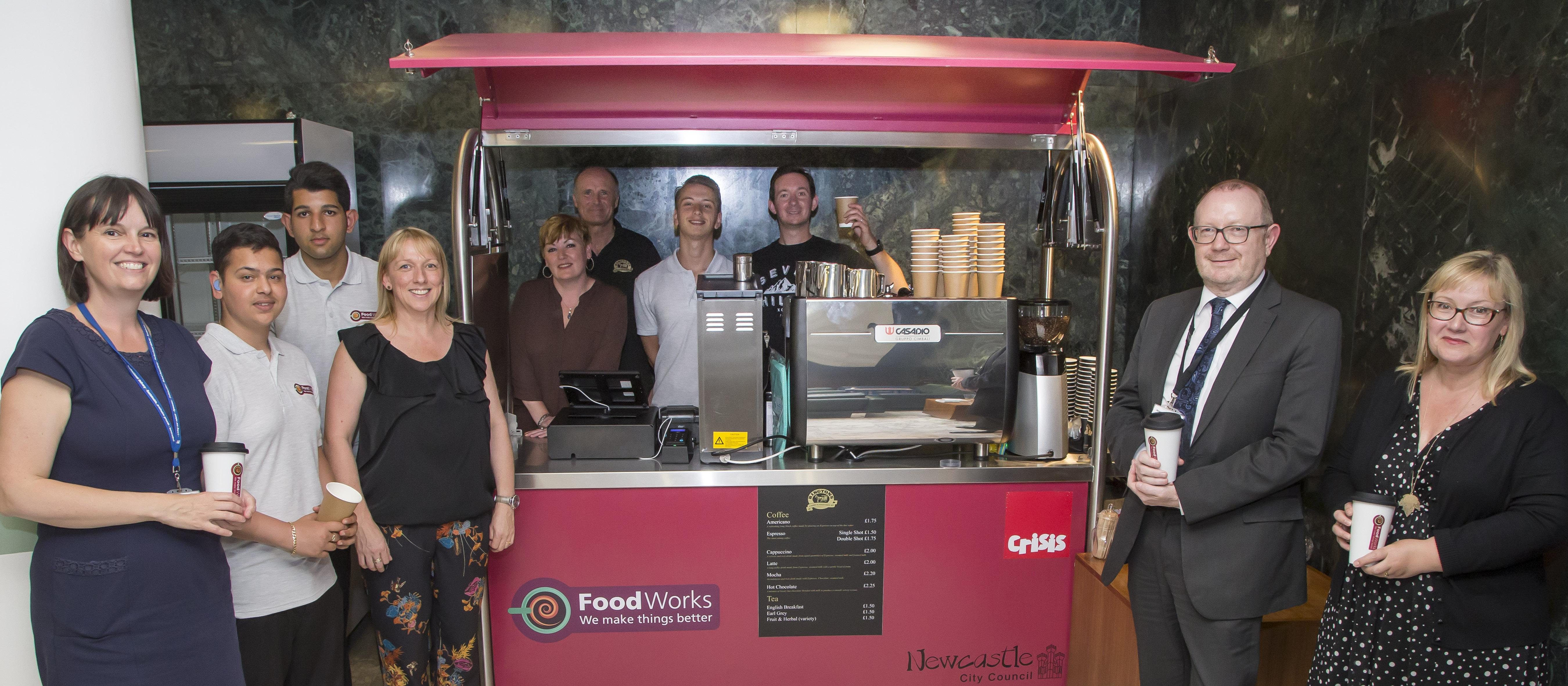 FoodWorks staff and coffee cart